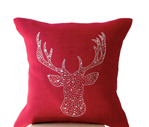 Handmade deer/stag design pillow cover with silver sequin