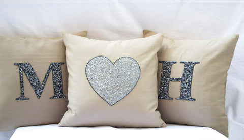 Handmade throw pillow with monogram and gray sequin