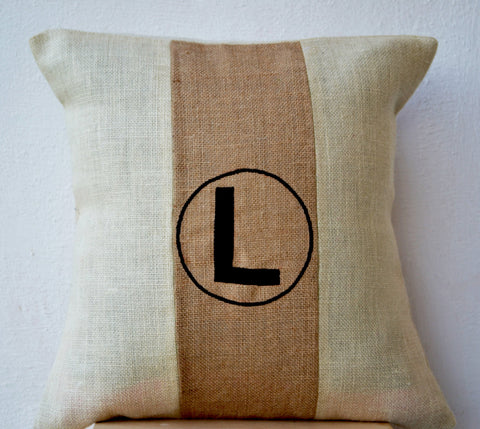 Handmade beige ivory throw pillow with color block and monogram