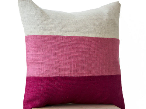Handmade burlap pink throw pillow with color block