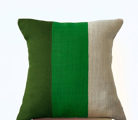 Handmade forest moss green throw pillow with geometric pattern