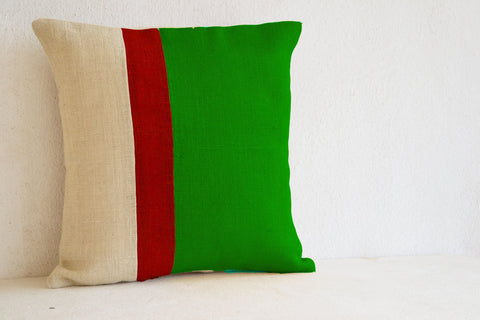 Handmade green decorative pillow covers in burlap
