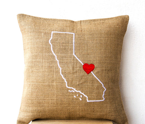 Handmade US state pillow with red heart embroidery