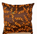 Handmade brown accent silk pillows with orange bead sequin