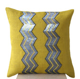 Handmade burlap yellow cushion covers with gray sequin