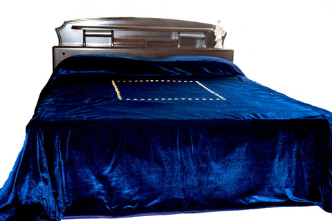 Navy blue hand embroidered king size bedspread with gold sequin
