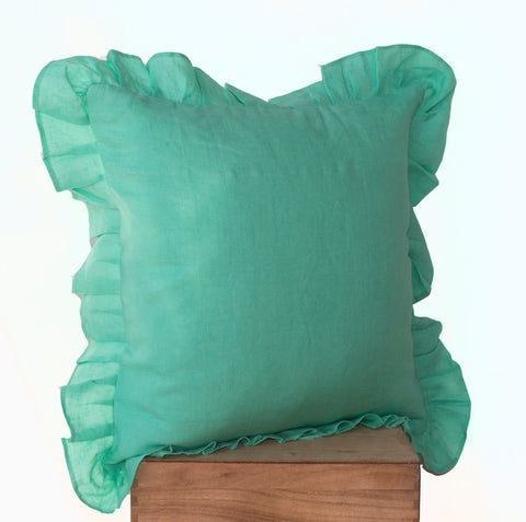 Handmade tiffany blue throw pillows with ruffled edges
