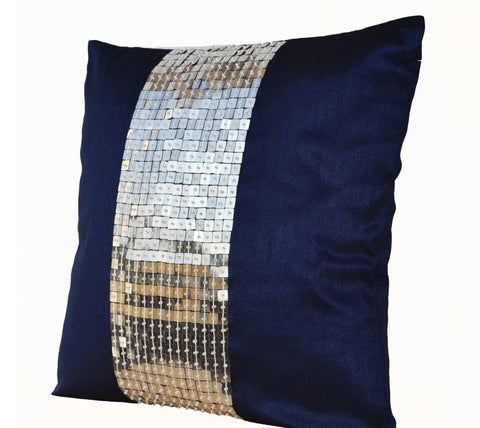 Handmade metallic colored throw pillows with color block sequin