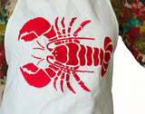 Handmade Burlap BBQ Red Lobster Design Aprons for Her