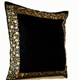 Handmade black cushion with gold sequin