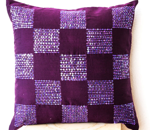 Handmade purple cotton silk throw pillow with bead sequin