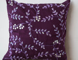 Handmade purple throw pillow with bead sequin
