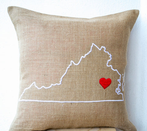 Handmade burlap pillow cover with state map