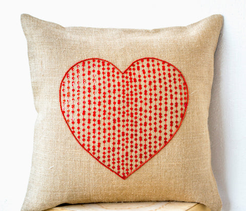 Handmade large burlap heart pillow cover with red sequin