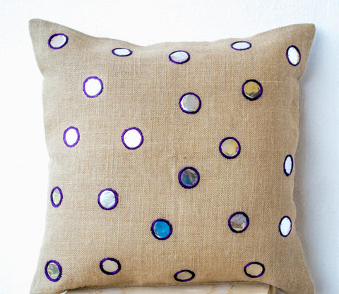 Handmade pillow with sequin and embroidered mirrors