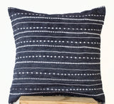 Handmade blue linen denim pillow cover with white embroidery