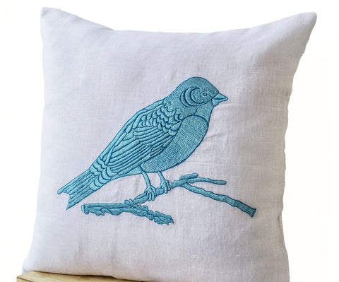 handmade white linen embroidered pillow cover with bird design