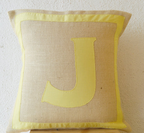 Handmade monogrammed yellow cotton throw pillow