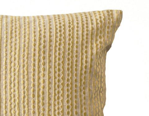 Handmade oatmeal linen pillow with pastel yellow geometric embroidery