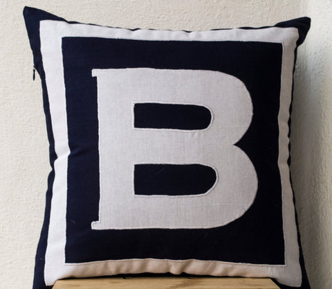 Handmade personalized navy blue pillow cover with monogram