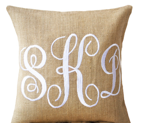 Handmade burlap throw pillow with monogram