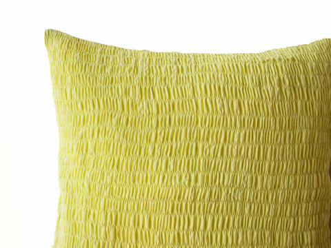 Handmade yellow cotton violet pillow with pleats