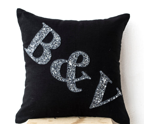 Handmade black linen gray throw pillows