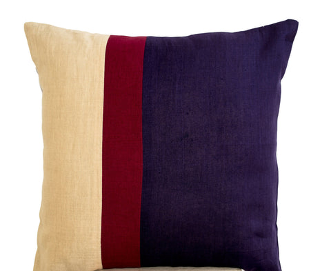 Handmade purple, beige, red pillow cover with color block