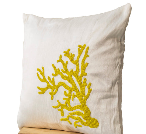 Handmade white silk pillow cover with yellow coral beads