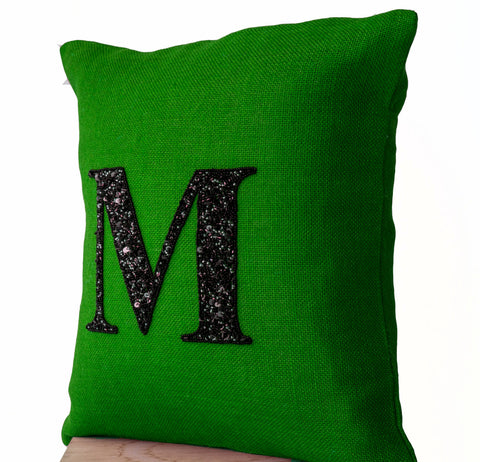 Handmade sequin monogrammed decorative pillow