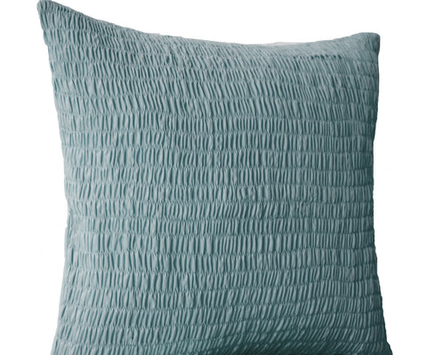 Handmade ruched gray cotton pillow with pleats