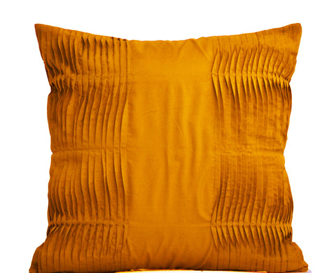 Handmade cotton silk pleated pillow cover in honey mustard color