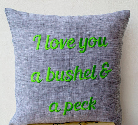 Handmade linen gray pillow covers with custom message and embroidery