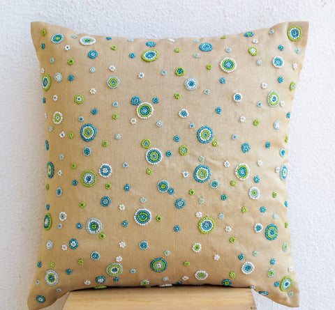 Handmade beige throw pillow with geometric circles design