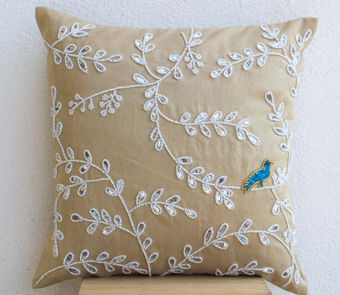 Handmade beige white silk pillow cover with beads and sequin