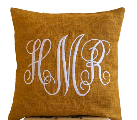 Handmade burlap mustard throw pillow with monogram