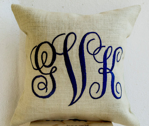 Handmade burlap ivory pillows with monogram