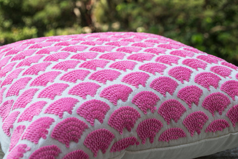 Handmade pink pillows with sequin and embroidery