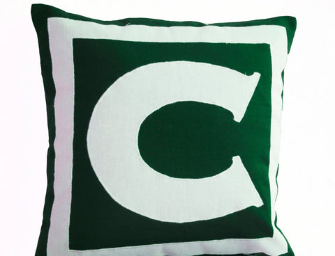 Handmade green throw pillow with monogram
