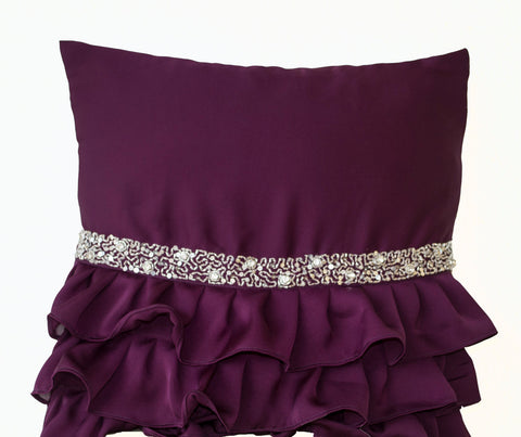 Handmade purple throw pillow with sequin and ruffles