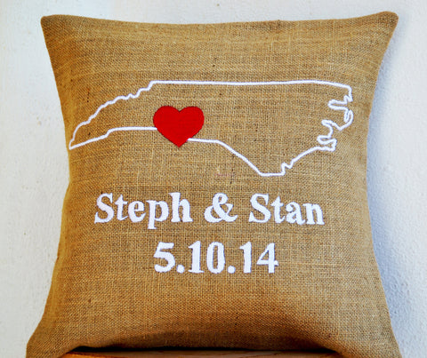 Handmade natural burlap personalized throw pillow cover