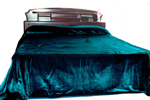 Luxury king size teal velvet bedspread