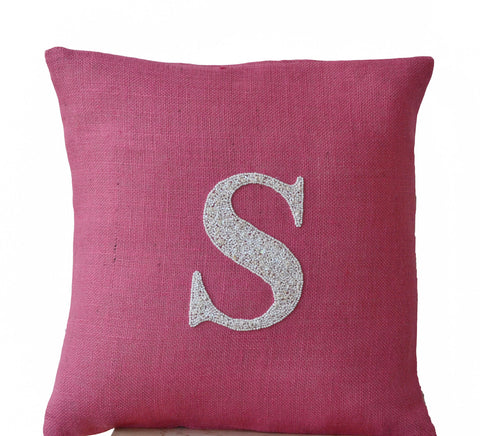 Handmade burlap pink throw pillow with monogram and sequin