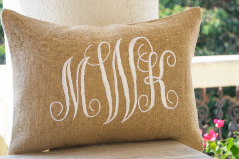 Burlap pillows with personalized monogram