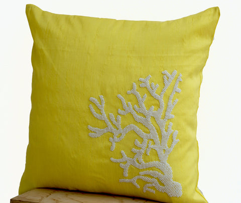 Handmade yellow silk pillow cover with white coral embroidery