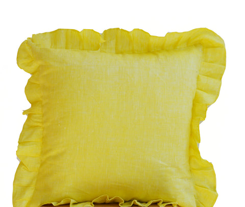 Handmade sunshine yellow throw pillows with ruffles