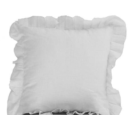 Handmade pure white linen throw pillows with ruffles