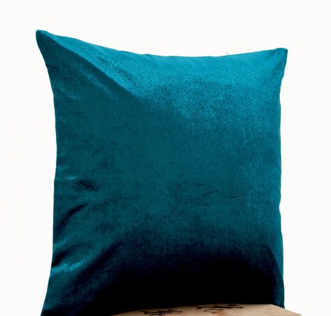 Handmade lush teal velvet pillow in oatmeal linen