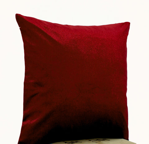 Handmade red velvet pillow in oatmeal linen