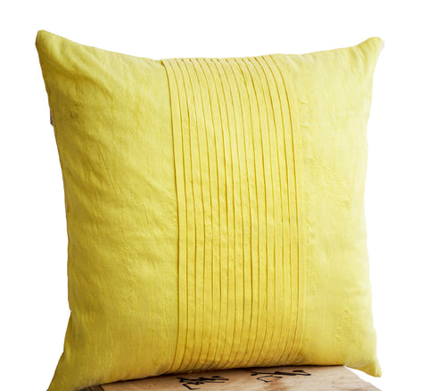 Handmade yellow art silk cushion with rippled pin tuck pattern
